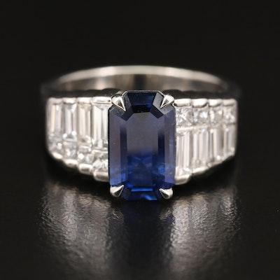Platinum 3.51 CT Ceylon Sapphire and 1.78 CTW Diamond Ring with GIA Report