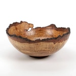 Jim Eliopulos Turned Live Edge Oak Burl Wood Free-Form Bowl
