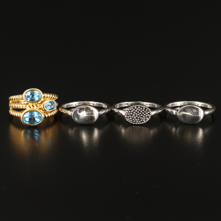 Michael Dawkins Sterling Textured Rings with Topaz Ring