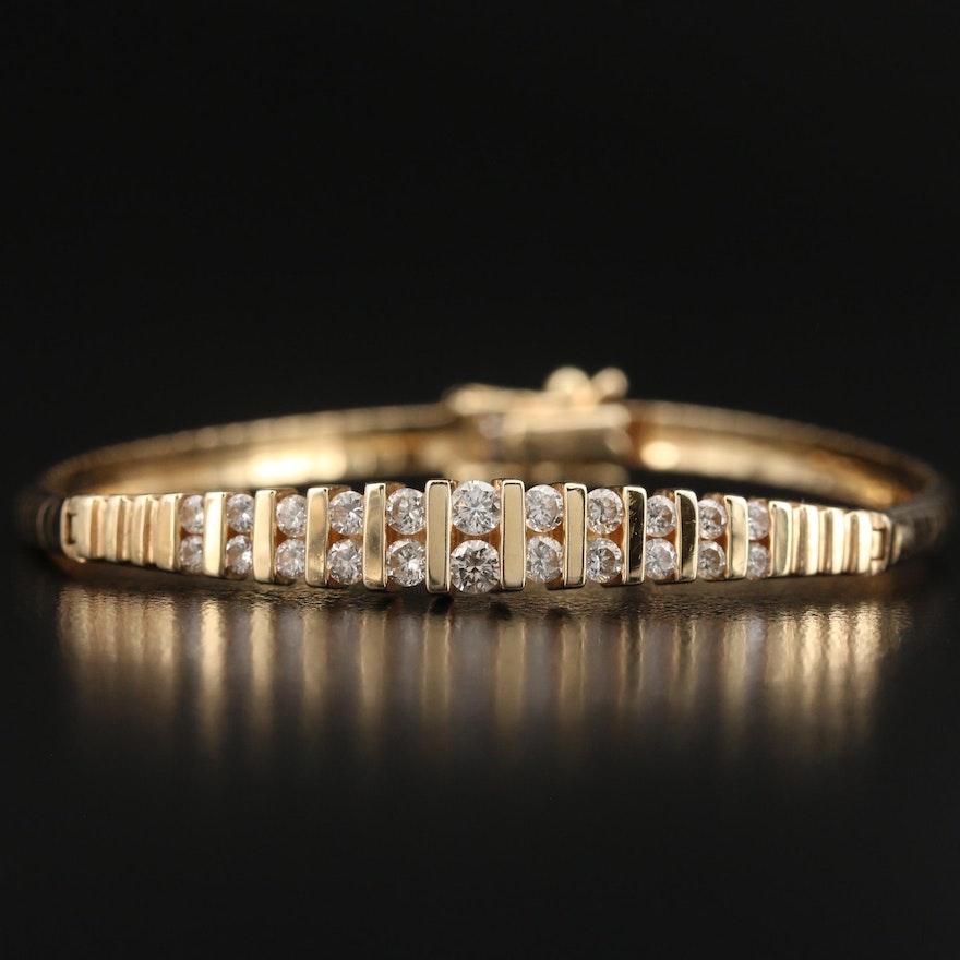 Italian 14K 1.00 CTW Diamond Pyramid Bracelet