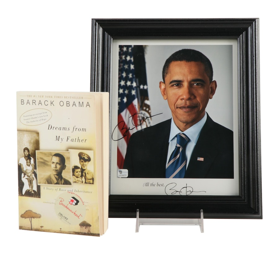 """Signed """"Dreams from My Father"""" by Barack Obama and Framed Photograph"""