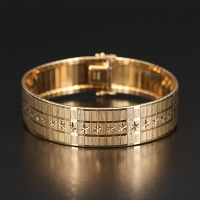 14K Diamond Cut Textured Bracelet