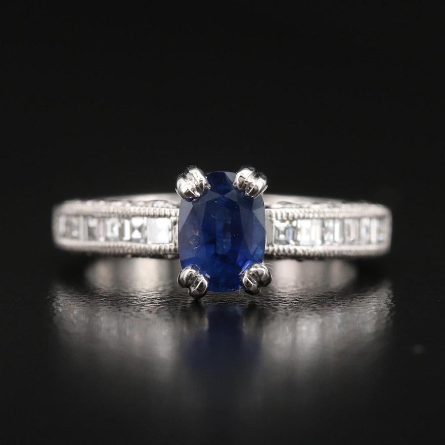 Tacori Platinum 1.38 CT Sri Lankan Sapphire and Diamond Ring with GIA Report