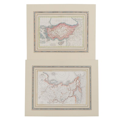 Hand-Colored Engraving Maps of Asia, circa 1830