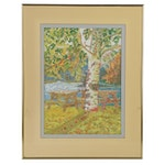 Pointillist Landscape Oil Painting with Picnic Tables, Late 20th Century