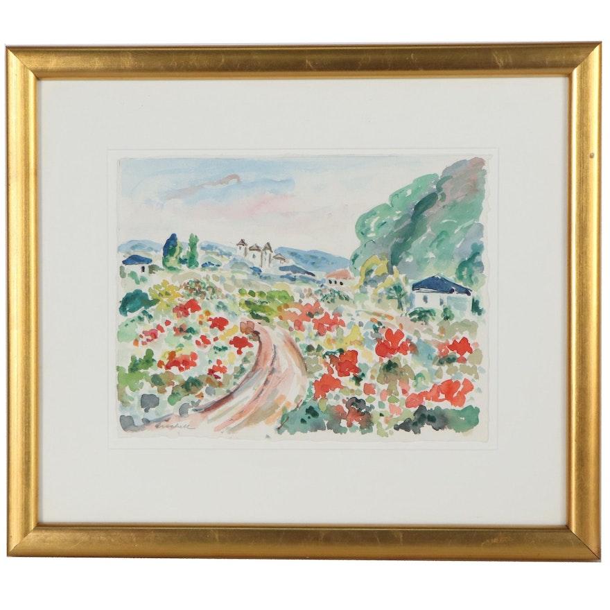 """Beverly Erschell Watercolor Painting """"Un Printemps Fleuris"""""""