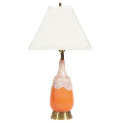 Mid-Century Modern Orange Ceramic Table Lamp with Textured White Drip Glaze