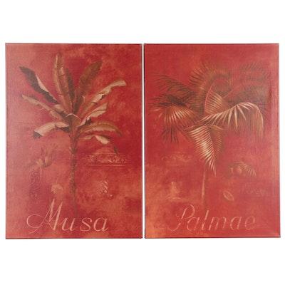 Giclées after Fabrice de Villeneuve of Decorative Palm Trees, 21st Century