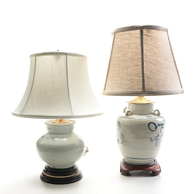 Chinese Swatow Water Jug and Powder Jar Celadon and Blue Table Lamps