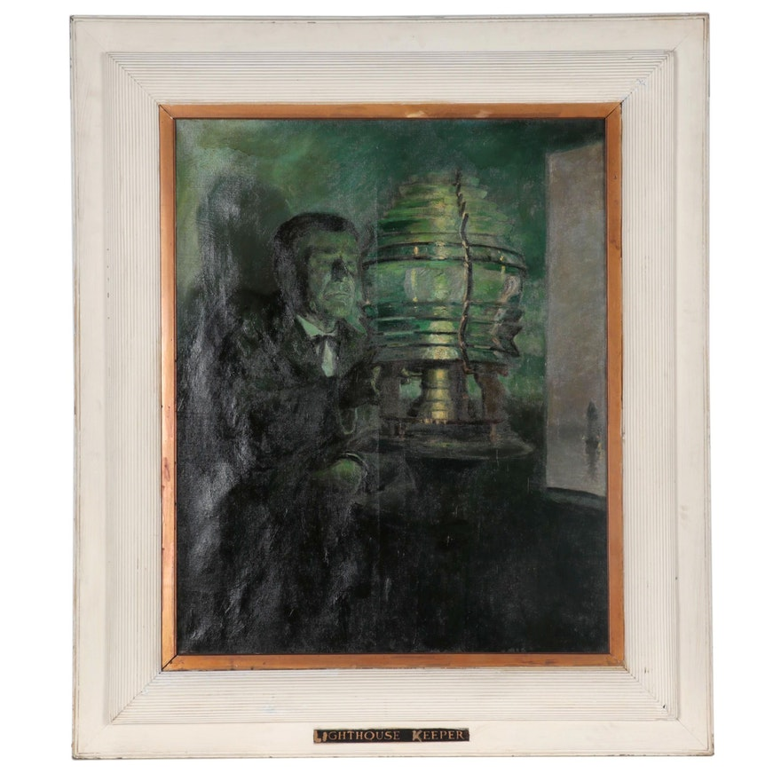 "Richard Richon-Brunet Large-Scale Oil Illustration ""Lighthouse Keeper,"" 1899"