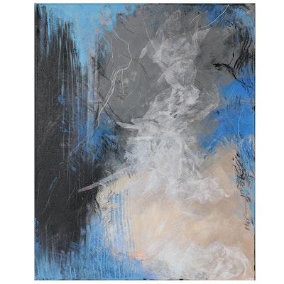 "Suzanna ""Sanna"" Frank Abstract Acrylic Painting ""Blue Field,"" 2021"
