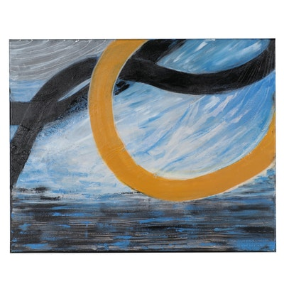 """Suzanna """"Sanna"""" Frank Abstract Acrylic Painting """"Paths Through the Sky,"""" 2021"""