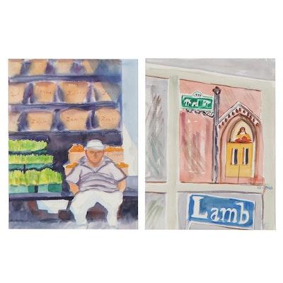 Kathleen Zimbicki Watercolor Paintings of Street Scenes