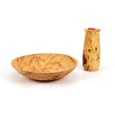 Jim Eliopulos Handcrafted Box Elder Wood Vase and Bowl
