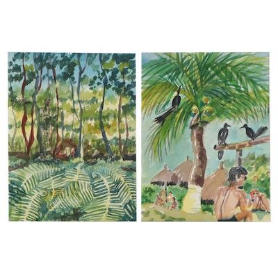 Kathleen Zimbicki Tropical Landscape Watercolor Paintings