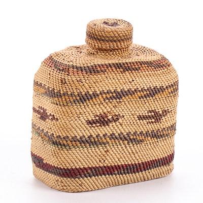 Northwest Coast Native American Bottle Basket with Bird Motif