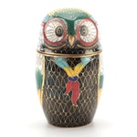 Chinese Cloisonné Owl Trinket Box, 20th Century