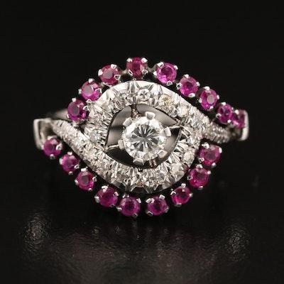 Vintage 18K Diamond and Ruby Swirl Ring