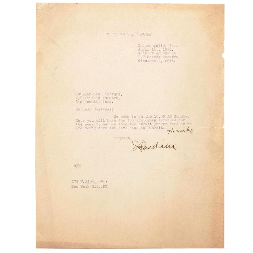 "Harry Houdini Signed ""Cincinnati Performance"" Letter, 1925, JSA Letter"
