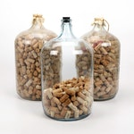 Wine Cork Collection in Large Glass Bottles
