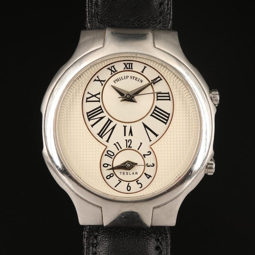 Philip Stein Teslar Dual Time Stainless Steel Quartz Wristwatch