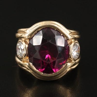 14K Rhodolite Garnet and 1.27 CTW Diamond Ring