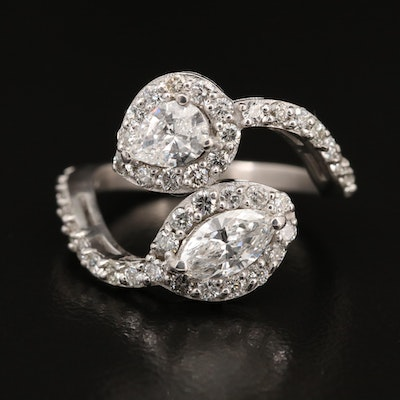 14K 1.61 CTW Diamond Bypass Ring with GIA Diamond Dossiers