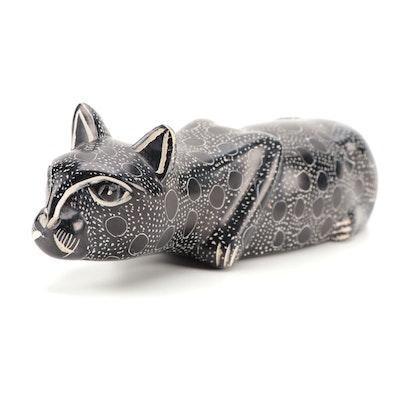 Kenyan Kisii Carved Black Soapstone Cat Figurine