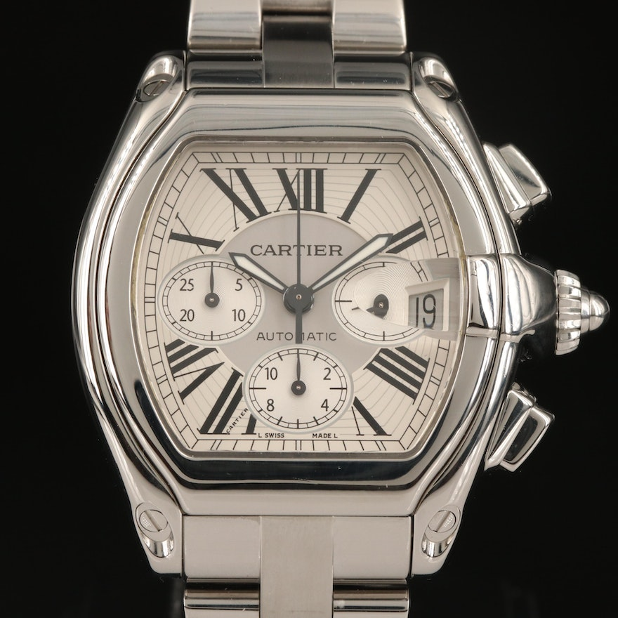 Cartier Roadster XL Chronograph Stainless Steel Automatic Wristwatch