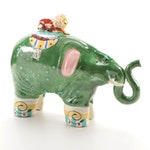 Whimsical Hand-Painted Ceramic Elephant and Lion Figurine