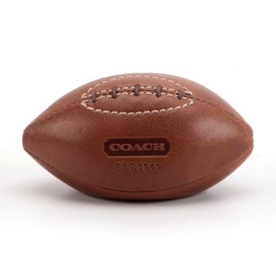 Coach Mini Football Shaped Leather Paperweight