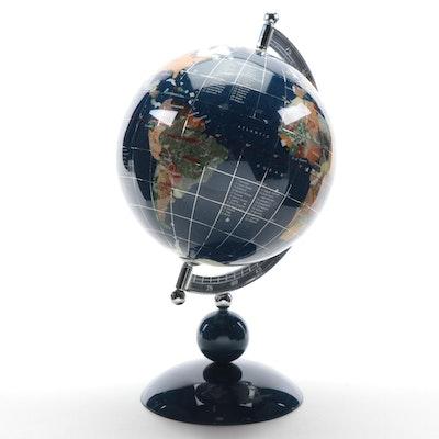 Abalone, Lapis, Jasper and Other Gemstone Inlay Desktop Globe