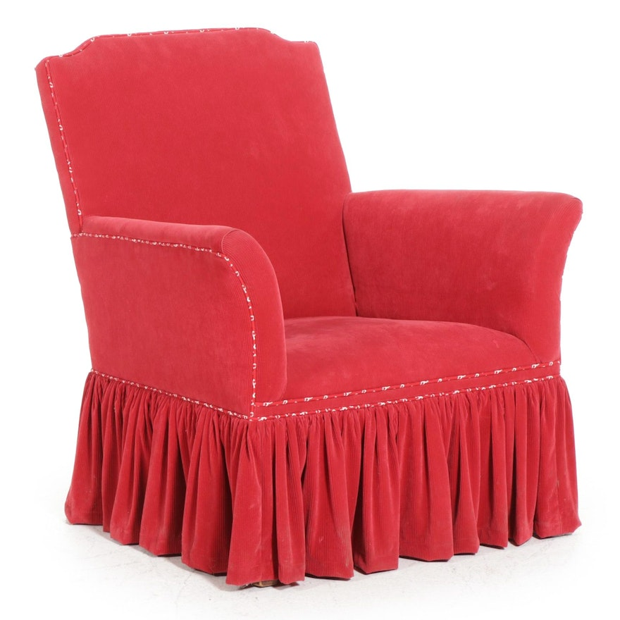Red Corduroy Upholstered Armchair, Late 20th Century