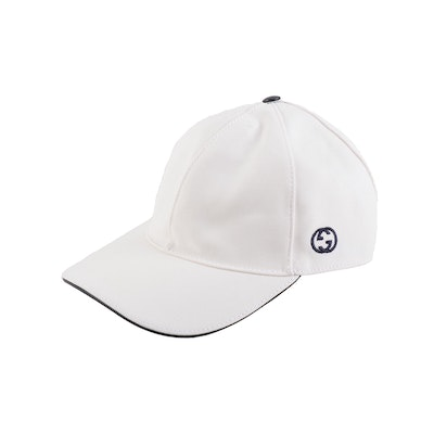 Gucci Embroidered GG Logo White Baseball Cap with Navy Trim and Web Stripe