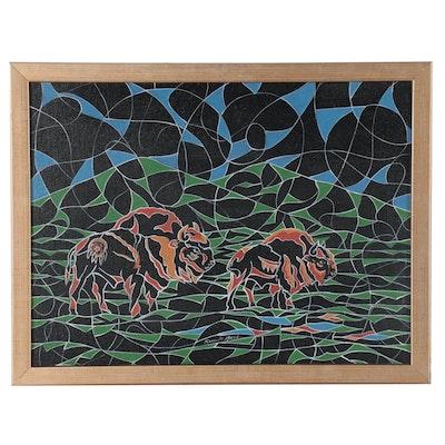 Ricardo Maya Acrylic Painting of Bison, 21st Century