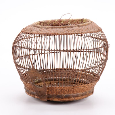 Southeast Asian Woven Grass and Bamboo Bird Cage