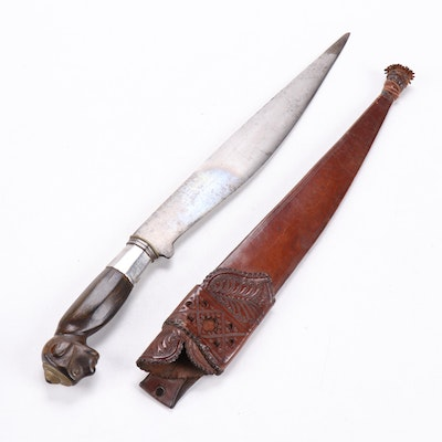 Southeast Asian Bolo Blade with Carved Wood Dayak Style Figural Handle