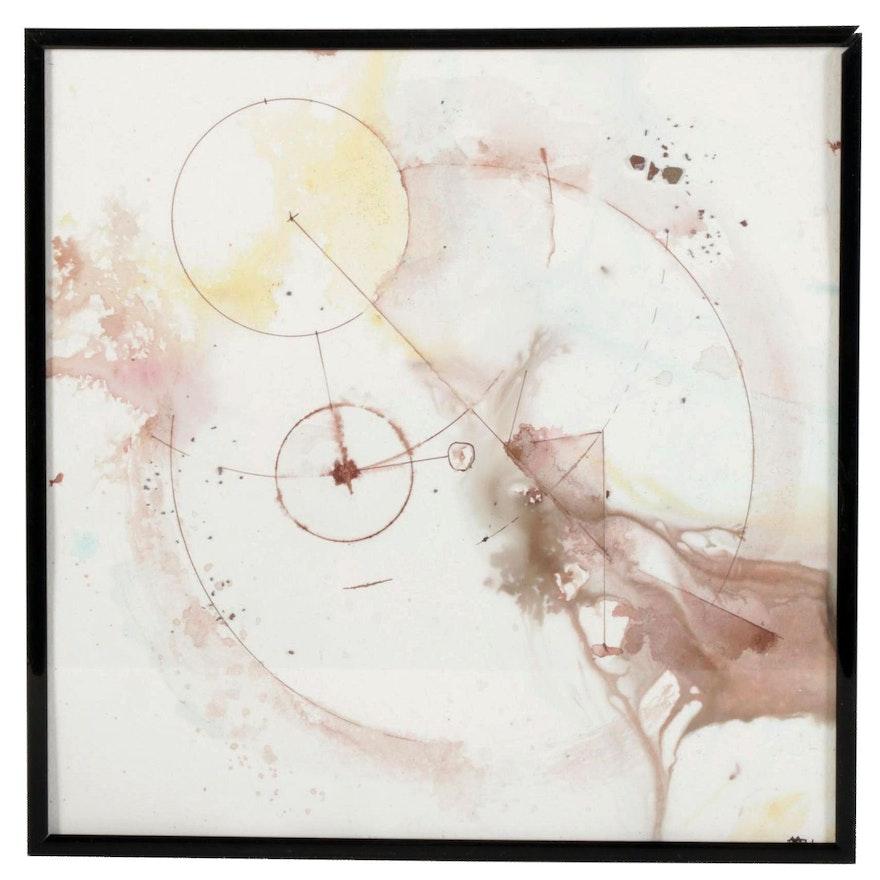 """Alberto Almarza Mixed Media Painting """"Planetary Events III,"""" 2021"""