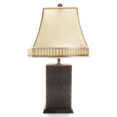 Ornate Floriform Carved Wood Box Table Lamp