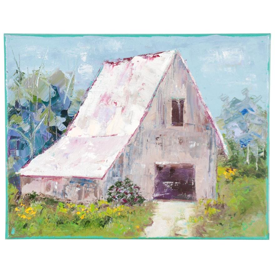 Dottie Abramowski Oil Painting of Barn, 2020