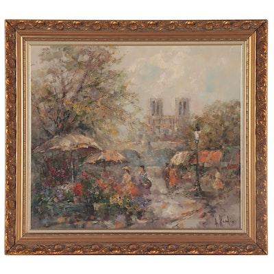 Alexander Kardin Notre Dame Parisian Street Scene Oil Painting