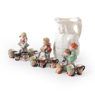 Royal Doulton Miniature Character Jugs, Lenox Pitcher and Other Figurines