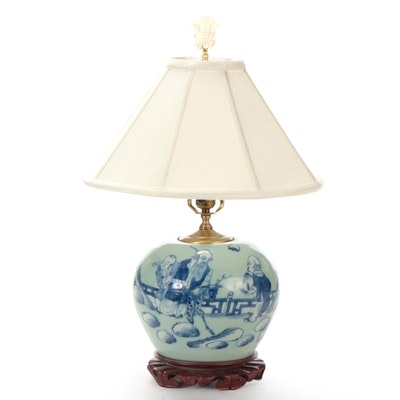 Chinese Blue on Celadon Porcelain Ginger Jar Lamp with Immortals