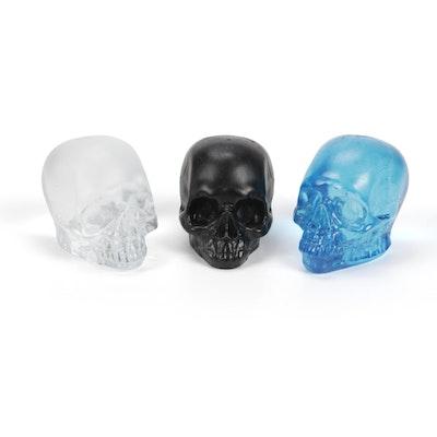 Three Glass Skull Paperweights