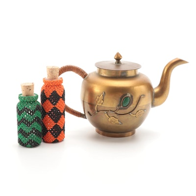 Chinese Spelter Teapot and Beaded Glass Vials