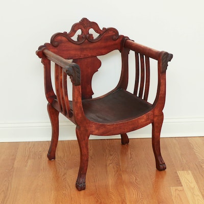 Italian Carved Walnut Dante Style Chair, Early 20th Century