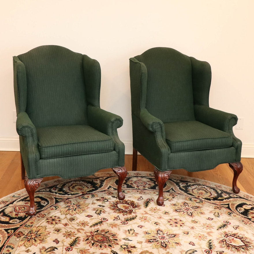 Pair of Rowe Furniture Hunter Green Upholstered Wingback Chairs