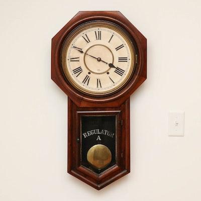 "Ansonia Clock Co. ""Regulator A"" Cherry Wood Case Wall Clock, Early 20th Century"