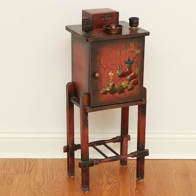 Paint-Decorated Wood and Copper-Lined Smoking Stand, 1930s