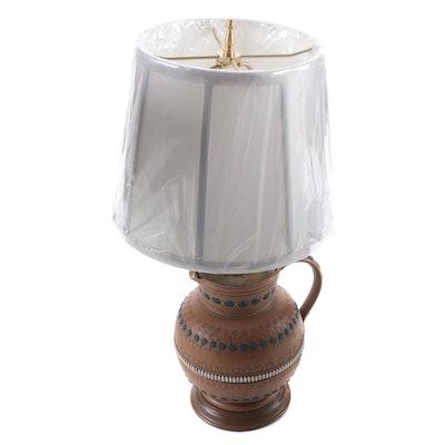 English Doulton Lambeth Stoneware Jug Converted to Lamp